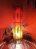 Orientalische Stehlampe Neslihan orange 80cm Lederlampe Hennalampe Lampe | Marokkanische Große Stehlampen aus Metall, Lampenschirm aus Leder | Orientalische Dekoration aus Marokko, Farbe Orange