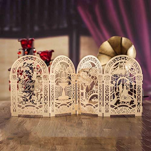 AOWEIRILUV 10 Stück Blumenmuster goldene Hochzeitseinladungen für Bräutigam und Braut Leere Einladungskarten