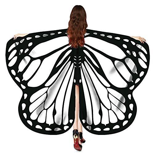 YWLINK Frauen Retro Karneval Party Weiche Gewebe Schmetterlings FlüGel Schal Umhang Erwachsener Damen Pixie Halloween Cosplay Weihnachten Cosplay Unisex (170X140CM,Weiß) (Batman Kutte Kostüm)
