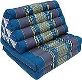 Guru-Shop Cuscino Tailandese, Cuscino Triangolare, Kapok, day bed con 2 Cuscini - Turchese/grigio, 30x50x120 cm, Cuscino Thai / 2 Supporti