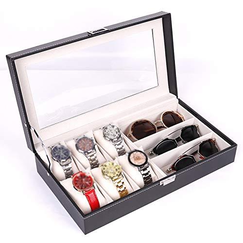 QXTT Kombi Schatulle Für Uhren Und Brillen Schmuck Aufbewahrungsbox Sonnenbrillen Und Uhr Präsentationscase Aus Kunstleder Damen Herren