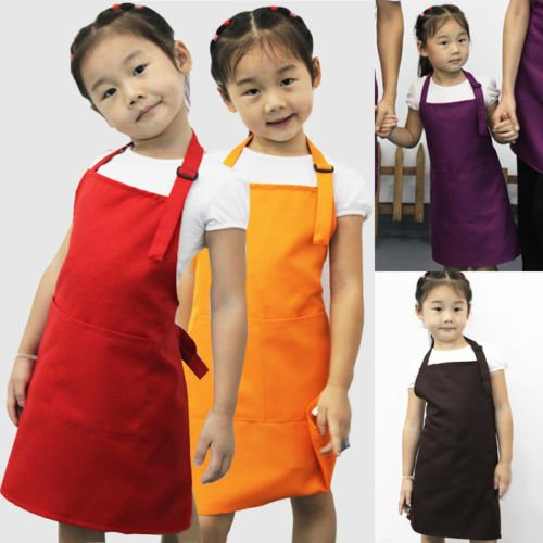 Interesting® Children Kids Plain Apron Kitchen Cooking Baking Painting Cooking Craft Art Bib