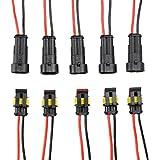 niceEshop(TM) 2 Pin Étanche Connecteur électrique Fiche Voitures Broches avec Wire AWG Marine (Noir)