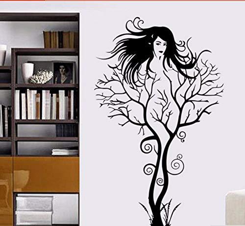 Zxfcczxf Creative Girl Tree Wandtattoo Inicio Dormitorio Decoración De La Ved De Vililo Herausnehmbar Óbol Chica Diseño Casa Decoración Vinilo Wandgemälde 43 * 72Cm