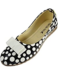 SKOR NX Women Polka Dot Black & White Ballerinas Flats