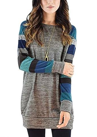 Kinikiss Women's Cotton Knitted Long Sleeve Lightweight Tunic Sweatshirt Tops Casual T-shirt Dress