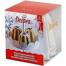 DECORA 0062684 Confezione Stampi Pandorino in Alluminio Anodizzato, 3 Unità, 7,5xh6 cm, Argento