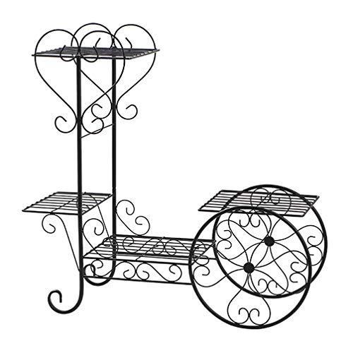 LZY Rui Garten Metallwagen Ständer & Blumentopf Pflanzenhalter Display Rack, 4 Ebenen, Pariser Stil - Perfekt für Haus, Garten, Terrasse (Schwarz)