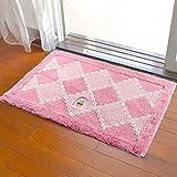DUXX Microfiber Bad Rug Rutschfeste Absorbierende Badezimmer Teppich Weich Waschbar Wohnzimmerteppich Küchen Teppich,Pink,50 * 80Cm