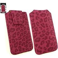 Emartbuy ® Classic Range Faux Suede Leopard Rosa Slide In Case Cover Carcasa Funda Sleeve (Tamaño 5Xl ) Con Solapa Magnética Y Tire Mecanismo Tab Adecuado Para ZTE Grand Memo II LTE