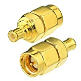 Eightwood DAB + adaptador de antena SMA macho a MCX macho 2 piezas para radio de coche GPS inalámbrico Wifi Lan