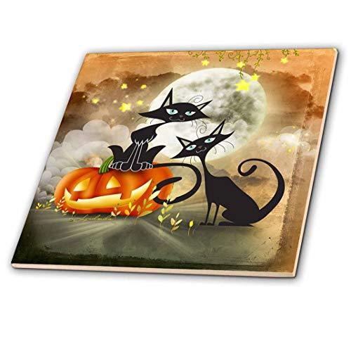 3drose Halloween Zwei Katzen ist, ein Furchterregendes Geschichte sind, Keramik Fliesen, 12Zoll (CT _ 201124_ 4)