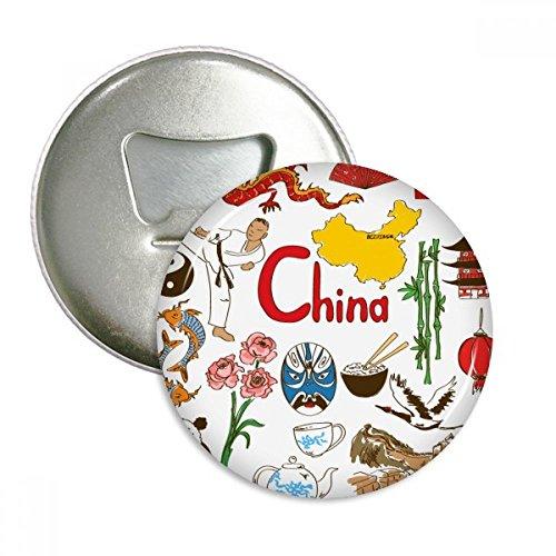 DIYthinker China Panda Landscap Nationalflagge Runde Flaschenöffner Kühlschrank Magnet Pins Abzeichen-Knopf-Geschenk 3pcs Silber