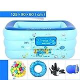 YUGNG Verdickt Umweltfreundliche PVC Familie Kinder Schwimmbad Gefaltet aufblasbare Quadrat Baby Pool Ball Pool 125 * 90 * 60 cm für 1-2 Personen aufblasbare Elektrische Pumpe