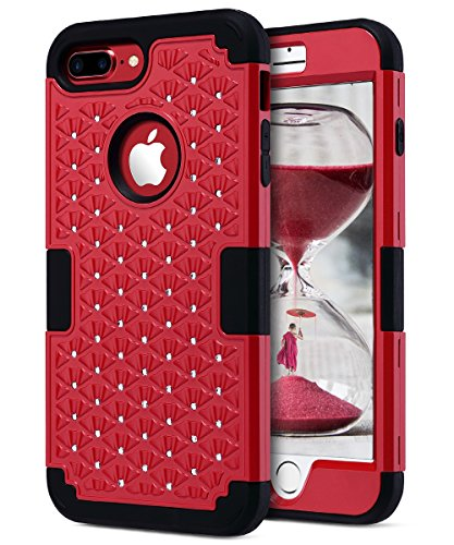 ULAK iPhone 7 Plus Case, Heavy Duty Shockproof Diamond Studded Bling Rhinestone Case with Dual Layer Hard Cover Soft Silicone Impact Protection for Apple iPhone 7 Plus 5.5 inch, Bling Red/Black