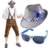 German Trendseller - Bayern Hut - Deluxe + Gratis Sonnenbrille + ┃ Neu ┃ Oktoberfest ┃ Filzhut mit Federn + Brille ┃ Blau / Weiß ┃ 2 Teiliges - Set ┃ 1 Set