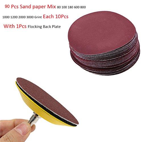 Preisvergleich Produktbild goodchanceuk 7,6cm Haken & Loop Discs Polieren Papier Boxen mit 90Stück Sandpapier Pad 801001806008001000120020003000Grint Polieren Werkzeug mit Beflockung Backer Teller gelb
