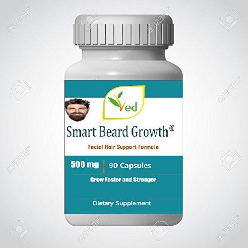 Croissance Smart Beard, 90 gélules - Meilleur supplément de croissance des cheveux pour le visage des hommes avec de la vitamine A et B pour les cheveux faciaux et une croissance plus rapide de la barbe