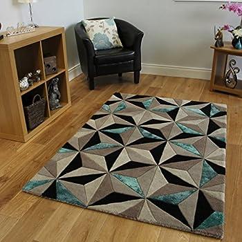 tapis moderne pais motif g om trique bleu sarcelle 3 tailles cuisine maison. Black Bedroom Furniture Sets. Home Design Ideas