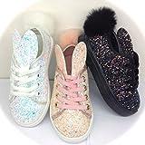 ROCK & JOY Mädchen Sneaker 1301, Haase Ohren Schwanz, Kinder Schuhe, Turnschuhe, Glitter (35, Schwarz)