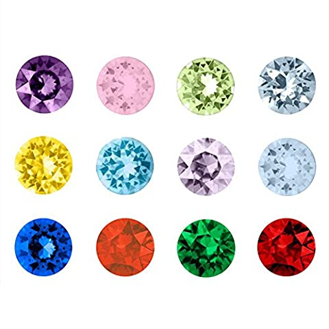Contever® 1 Pack of 120pcs Assorted Mix 12 Colors Birthstone Artifical Crystal 5mm