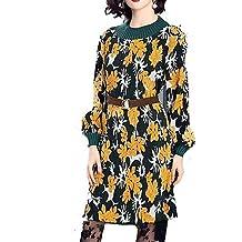 GAOLIM Womens Funda - Vestido Floral, Print,Amarillo,L