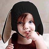 Ins Kinder Mütze mit Tier aus weicher, warmer Wolle, Hasenohren niedlich gestrickt, Herbst und Wintermütze, schwarz