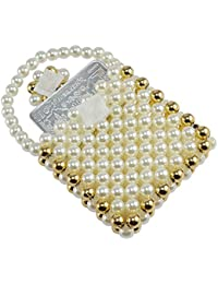 Saamarth Impex Pearl With Golden Color Beads Borader Beaded Mini Coin Pouch SI-3405