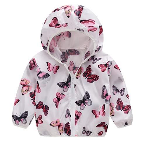 MRULIC Kinder Mädchen Jungen Floral Bedruckter Frühling mit Kapuze Licht Mantel Reißverschluss Jacke Tops Sonnenschutz Kleidung 1-6 Jahre -