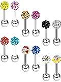 12 Stück Edelstahl Glitter Ohrstecker Kristallkugel Barbell Ohrstecker für Knorpel Tragus Piercing, 18 Gauge, 12 Farben