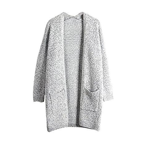 Moorui Damen Langarm Strickjacke Cardigan Strickweste Lang Outwear Tops Strickmantel Grau M