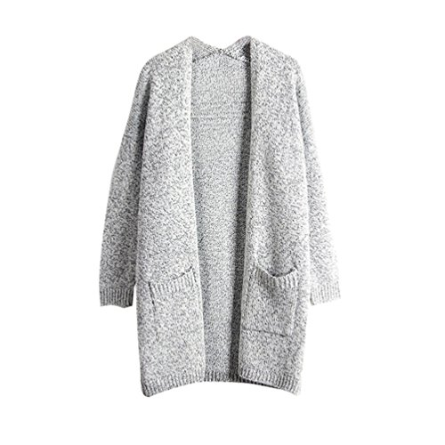 Moorui Damen Langarm Strickjacke Cardigan Strickweste Lang Outwear Tops Strickmantel Grau S
