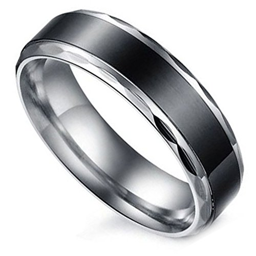 Flongo Herren 6MM Edelstahl Band Ring Partnerring Schwarz Silber Streifen Gestreift Verlobung Engagement Verlobungsringe Hochzeit Wedding Eheringe Charm Herren 76mm