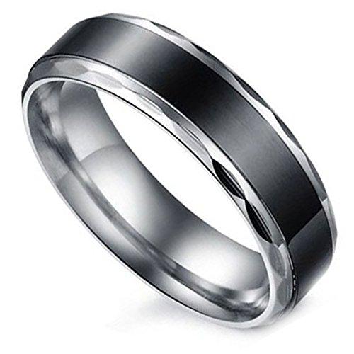 Flongo Partnerringe Damenring Herrenring Ring Edelstahl Band Ring Silber Schwarz Valentine Paar Ringe Verlobung Engagement Verlobungsringe Hochzeit Herren Größe 61mm