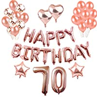 Weimi 70th Birthday Decorations Rose Gold for Women 45Pcs Inflating Foil HAPPY BIRTHDAY Banner