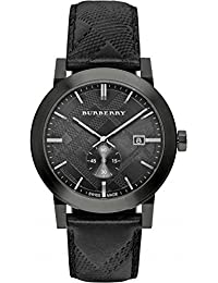 amazon co uk burberry watches burberry men s 42mm black calfskin band steel case quartz analog watch bu9906
