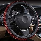 XuanMax Universal Handgestrickt 38cm Lenkradbezug Atmungsaktiv Lenkradhülle Lenkradschoner Auto Lenkrad Abdeckung Lenkradabdeckung Rutschfest Lenkradschutz Car Steering Wheel Covers - Rot