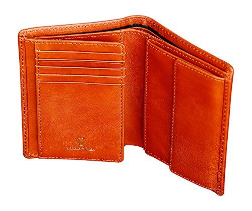 Cronus & Rhea® | Luxus Geldbörse mit Münzfach aus exklusivem Leder (Charon) | Geldbeutel - Brieftasche - Portemonnaie - Geldklammer | Echtleder | Mit eleganter Geschenkbox | Herren (Cognac) (Fossil Slim Brieftasche Tasche)