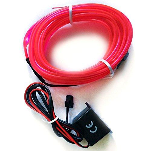1x PINK (3 Meter) AMBIENTEBELEUCHTUNG für moderner Innenraumbeleuchtung Inverter/Adapter Lichtleisten Strip EL Band Licht - hallenwerk