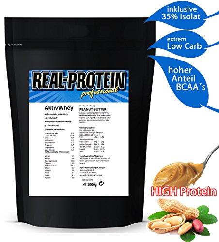 Arme Erreichen Original (Protein-Pulver WHEY ** 79,0% PROTEIN ** PEANUT-BUTTER Eiweiß-Pulver Low-Carb ohne Zucker Eiweiss-Isolate Eiweiß-Shake Isolat Molken-Proteinpulver Molkeprotein 23,9% BCAA vegetarisch Powder   )