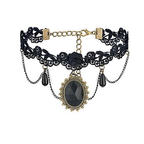 Gothic Choker Halskette Halskette Statement Schwarze Spitze Blume Quaste Kristall