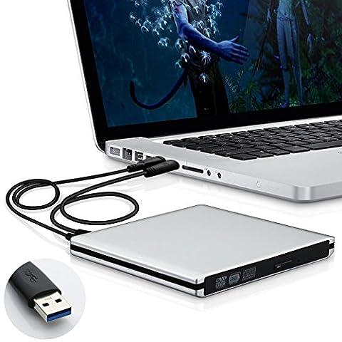 Starke Kompatibilität USB 3.0 Hochleistung Externes CD DVD Laufwerk Brenner für Laptops und Desktops Notebook unterstützt Windows XP/2003/Vista/7/Win8, Mac