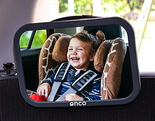 Onco Baby Car Mirror - Peace of Mind to Keep an Eye on Baby in a Rear Facing Child seat - Premium Black Frame
