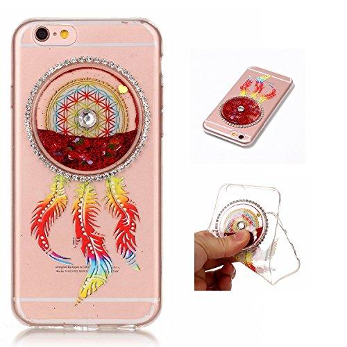 """Etui iPhone 7 4.7"""", SpiritSun Glitter Liquide Etui Coque TPU Slim Bumper pour Apple iPhone 7 (4.7 pouces) Etoiles Paillettes Sable Souple Housse de Protection Flexible Soft Case Cas Couverture Anti Ch Rouge"""