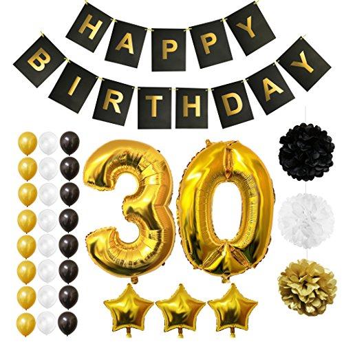 BELLE VOUS Luftballons Happy Birthday Banner Party Zubehör Set & Dekorationen Folienballons Geburtstag - Gold, Weiß & Schwarz Latex-Ballon-Dekoration - Dekor für alle Erwachsenen geeignet (Age 30) -