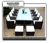 PolyRattan Essgruppe DEUTSCHE MARKE -- EIGNENE PRODUKTION -- 8 JAHRE GARANTIE Tisch + 8 Stuhl & 4 Hocker Garten Möbel mit Glas und Polster Ragnarök-Möbeldesign ( braun ) Gartenmöbel Gartentisch Aluminium Rattan