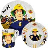 alles-meine GmbH 3 TLG. Geschirrset -  Feuerwehrmann Sam Jones  - incl. Name - Porzellan / Keramik - Trinktasse + Teller + Müslischale - Kindergeschirr - Frühstücksset für K.. Vergleich