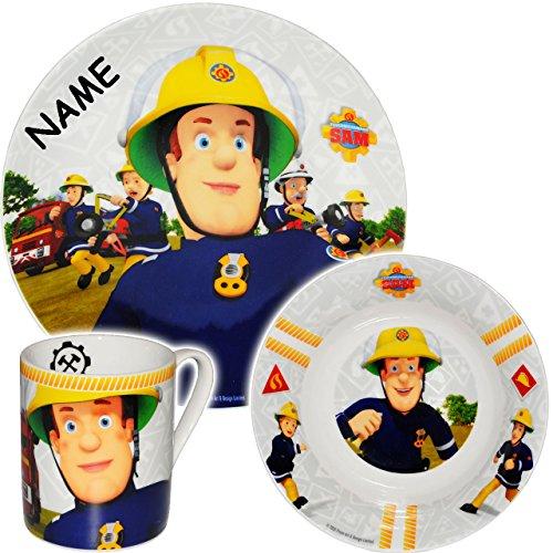 feuerwehrmann sam geschirr alles-meine GmbH 3 TLG. Geschirrset -  Feuerwehrmann Sam Jones  - incl. Name - Porzellan / Keramik - Trinktasse + Teller + Müslischale - Kindergeschirr - Frühstücksset für K..