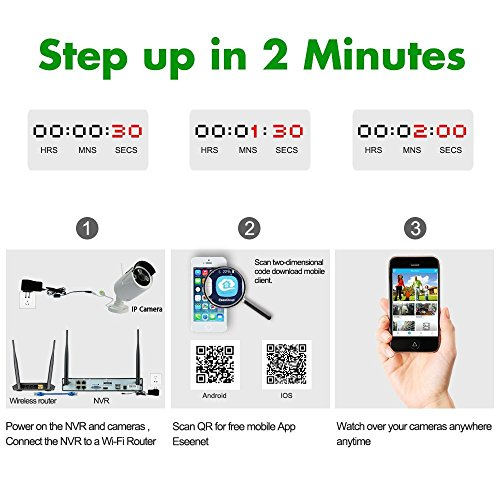 GLOBALSHOPSELL kit videosorveglianza wireless dvr nvr 4 canali 4 telecamere wifi 960p hd
