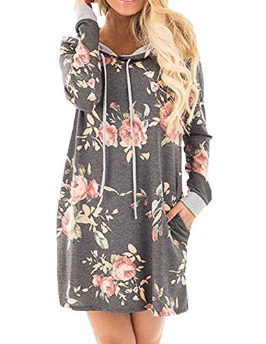 Automne Hiver New Les Femmes Cordon Imprimé Fleurs Avec Poche Casuel élégant Sweat-shirt à Capuche Manche Longue Mini Robe Pull Gris
